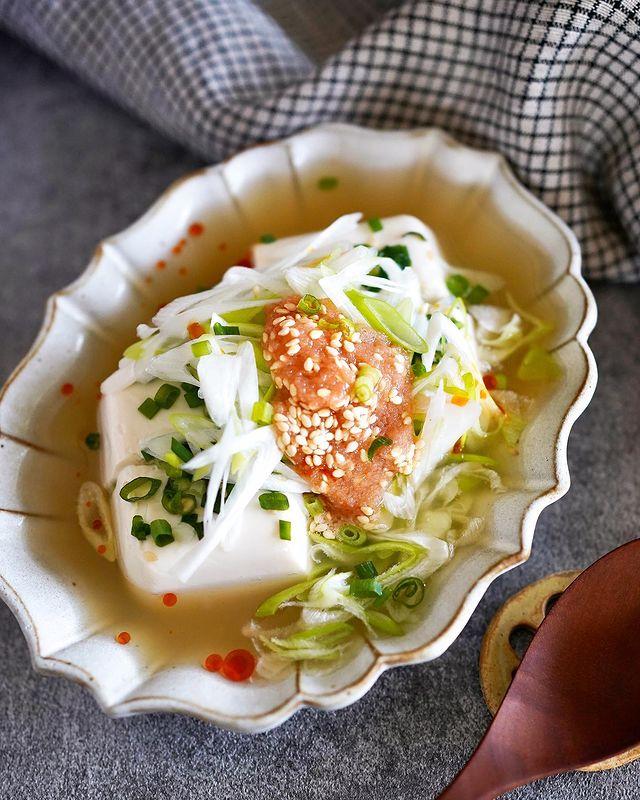 時短レシピ!明太子とネギのあんかけ豆腐