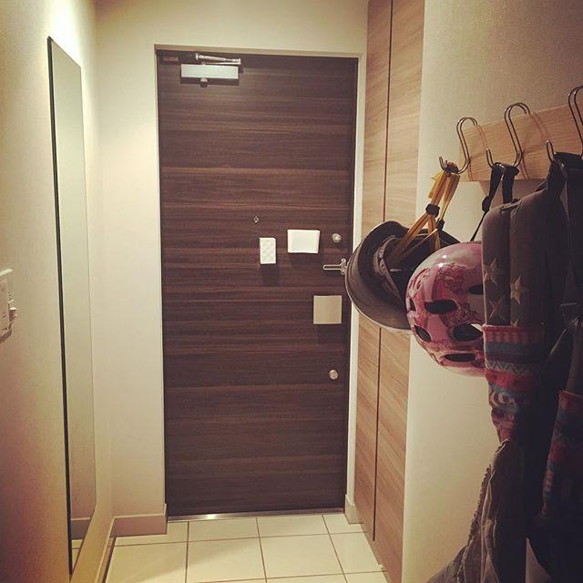 玄関ドアの内側にマグネットポケットの収納