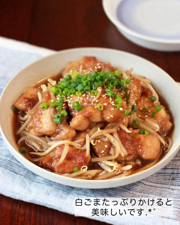 鶏肉ともやしの甘酢炒め4