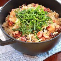 混ぜ込むだけで簡単にできる!大葉と生姜のタコ飯