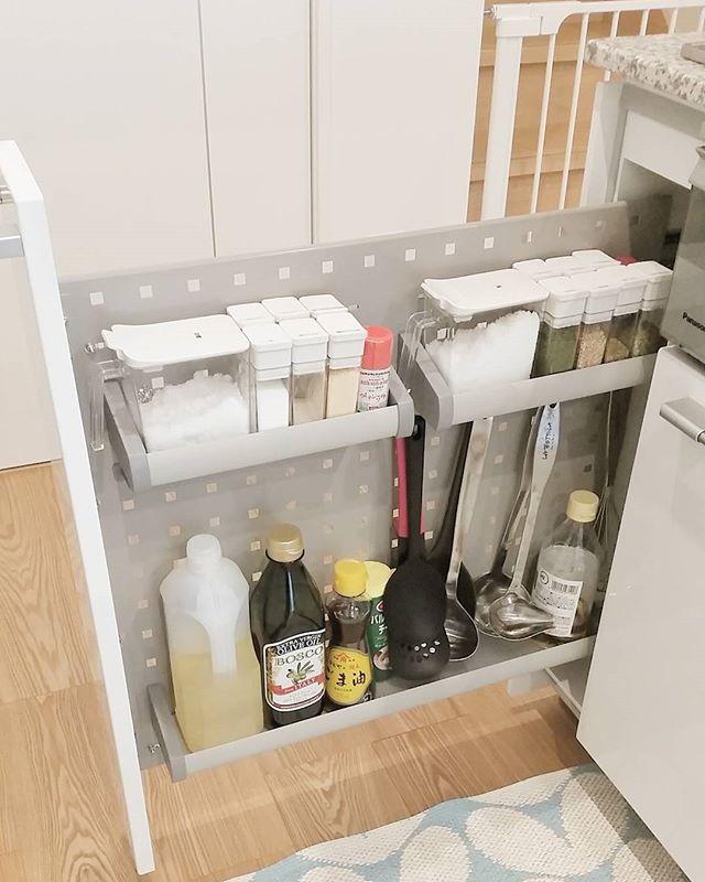 システムキッチンの機能を応用した収納
