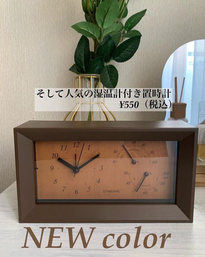 湿温度計付きの置き時計