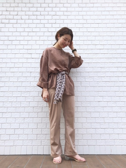 [Kastane] 【WEB限定】キュプラノーカラーシャツ/オーバーシャツ/ボリューム袖