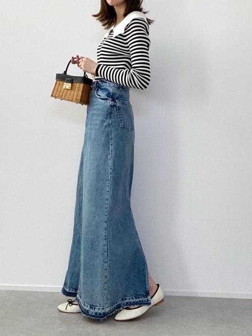 ZARAのロングデニムスカート