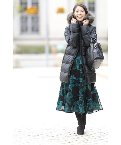 [FRENCH PAVE] リボンのお花が美しいスカート/ジャガードスカート