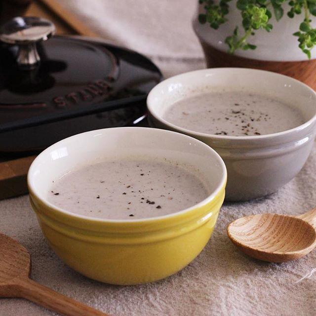 マッシュルームと豆腐のポタージュ風スープ