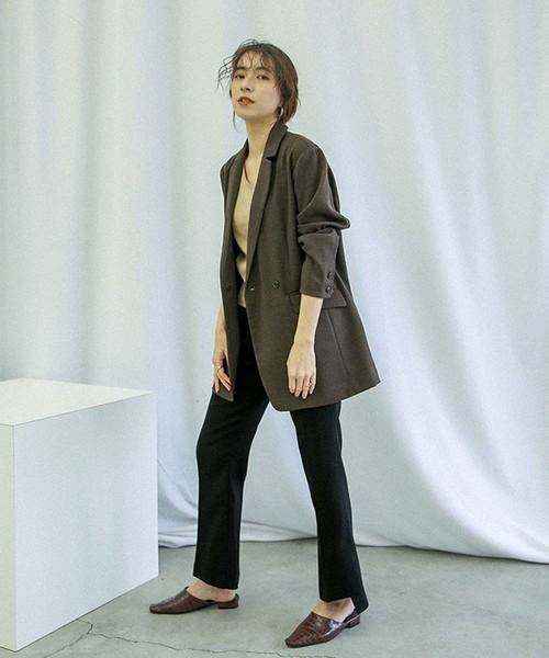 ヘムスリットフレアパンツ/サイドスリット裾フレアパンツ