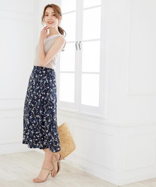 花柄 シフォンハイウエストロングスカート