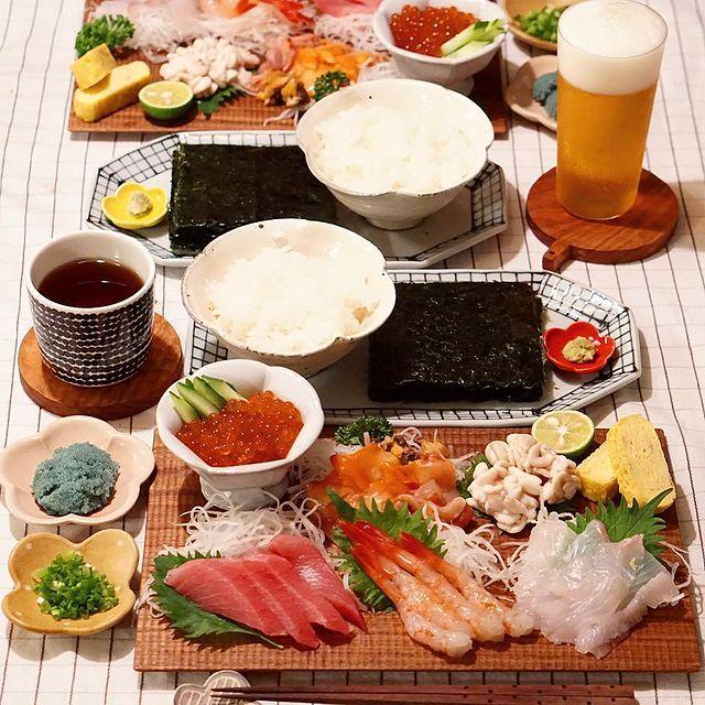 種類いろいろなエビで好みの手巻き寿司に♪