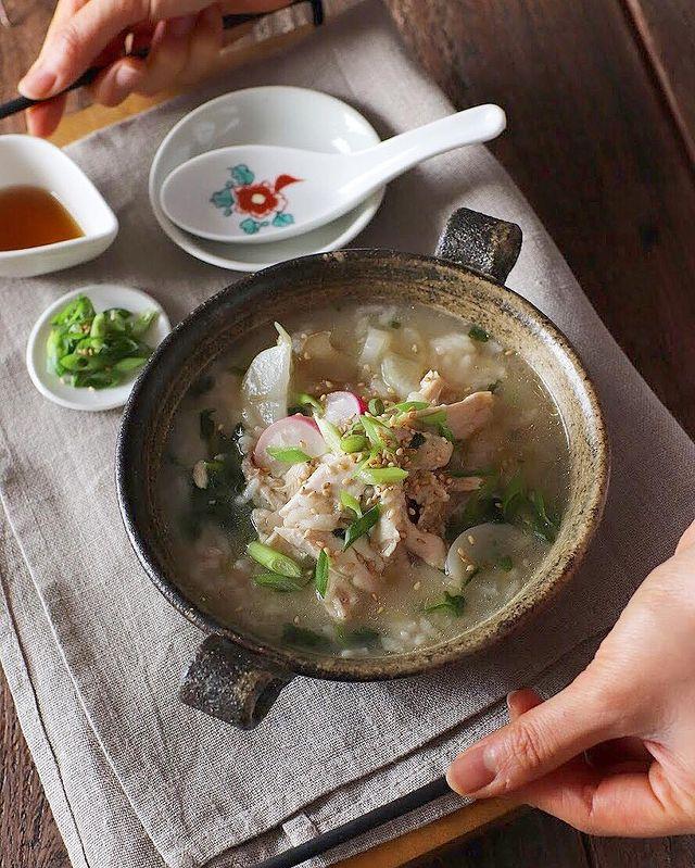 鶏肉&ねぎトッピング×鶏風味の七草粥レシピ