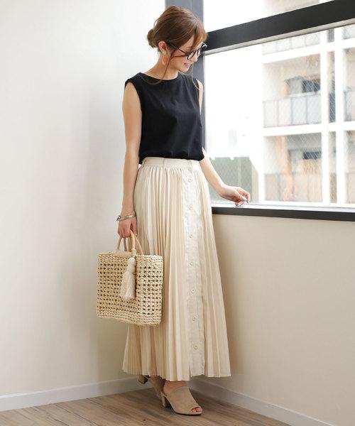 [and Me(アンドミー)] フロントボタンロングプリーツスカート
