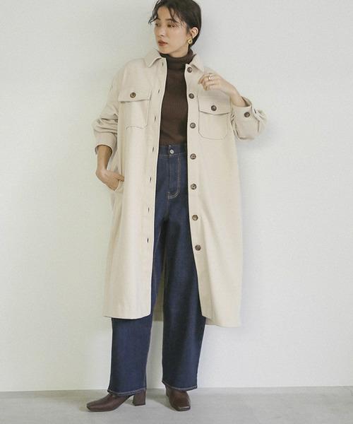 [select MOCA] フェイクウールシャツコート/ウールライクビッグシルエットCPOロングコート