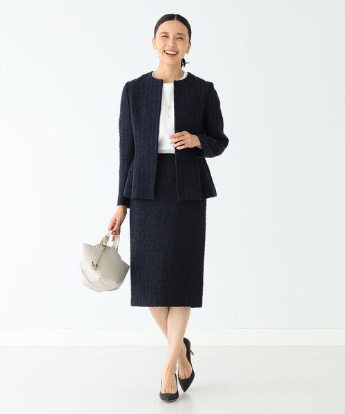 [BEAMS WOMEN] Demi-Luxe BEAMS / ツイード ペプラムジャケット 21FO