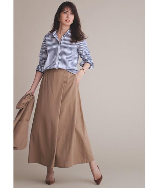 [FELISSIMO] IEDIT リネン混素材で上質にこなれる すっきりシルエットのラップ風Aラインロングスカート12