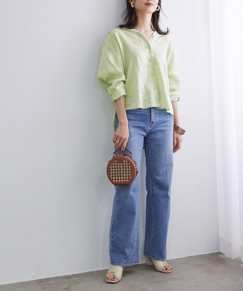 【テレワーク映え】【おうち服】オープンカラーリネンシャツ