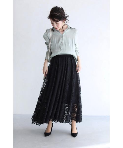 [FRENCH PAVE] ラクに履けて美しい。ゴージャスレースのミディアムスカート