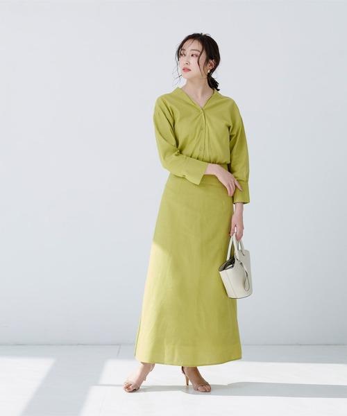 [ur's] 麻混セミフレアスカート