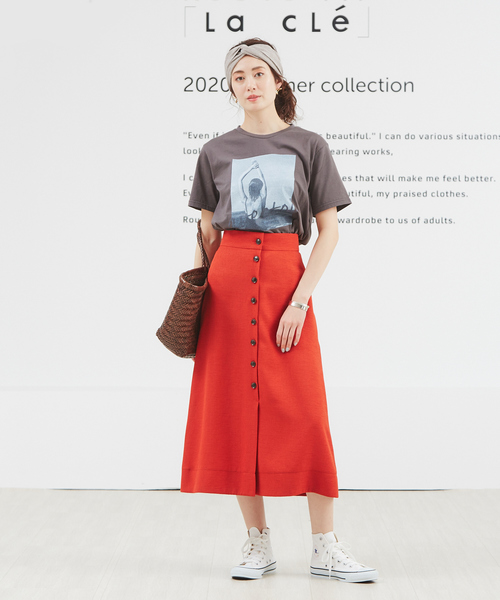 [Rouge vif la cle] フロントボタンセミフレスカート