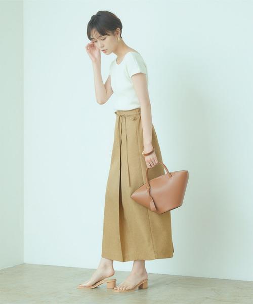 [titivate] リネンライクラップAラインリボン付スカート15