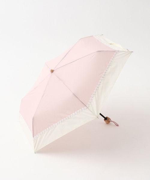 [Afternoon Tea LIVING] シャンブレーフラワーレース晴雨兼用折りたたみ傘 日傘