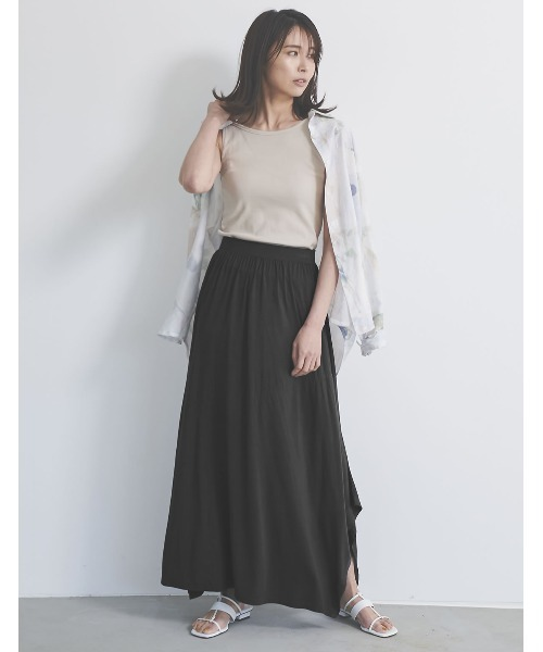[接触冷感][UVカット][抗菌][低身長向けSサイズ対応]ソイビーンマキシスカートスカート