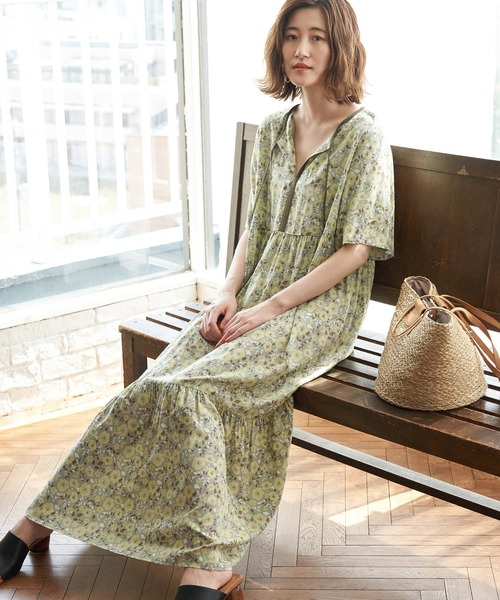 [ROPE' PICNIC] 【WEB限定】花柄ティアードワンピース