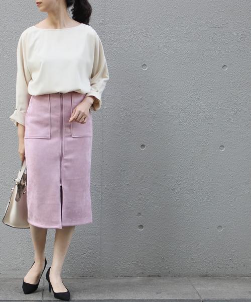 カットスエードライクタイトスカート【Sサイズ有・大きいサイズ対応】