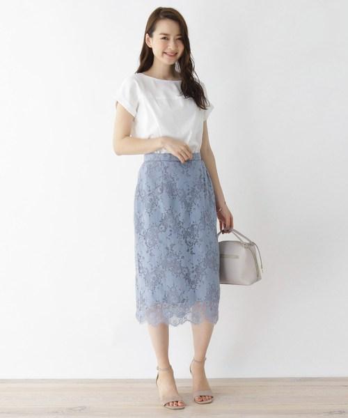 ラッセルレースミディタイトスカート