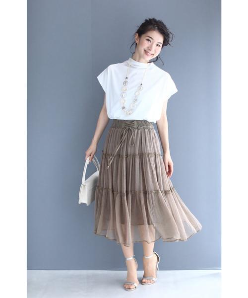 [FRENCH PAVE] ふわっと軽やかなティアードシフォンミディアムスカート