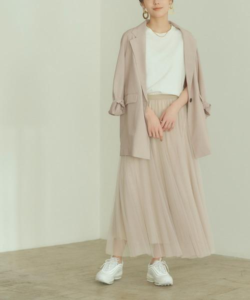 ウエストゴムチュールロングスカート