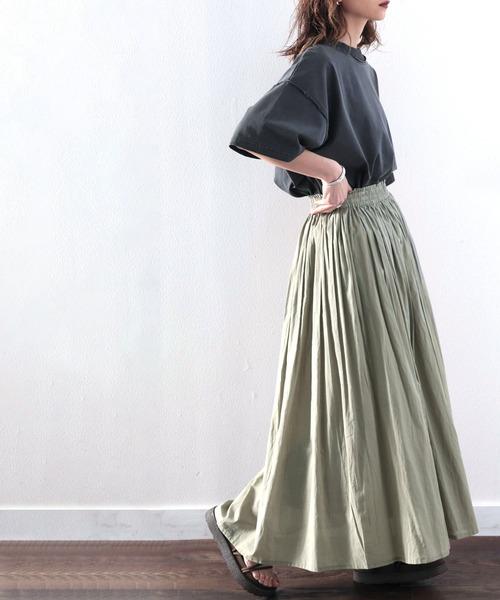 綿100% 風まとう、たっぷりフレアマキシスカート