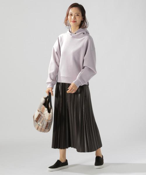[BAYFLOW] フェイクレザープリーツスカート