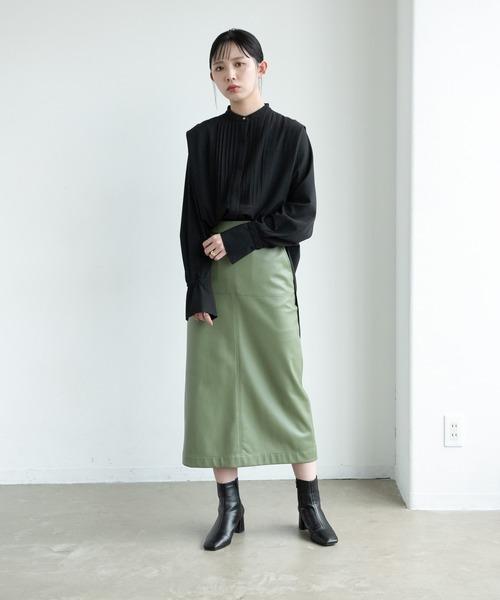 ショルダータックバンドカラーシャツ/AUNT MARIE'S