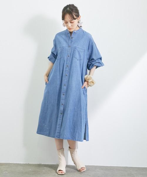 デニムバンドカラーシャツワンピース<WEB限定>
