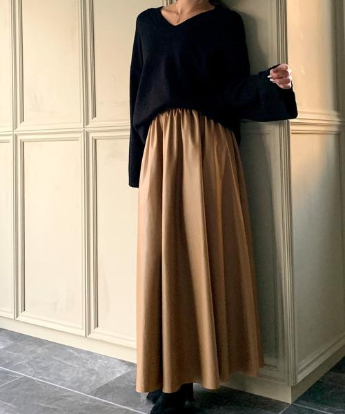 [JUNOAH] AラインPUレザーマキシスカート