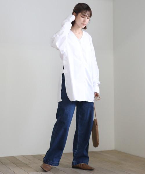 [select MOCA] 2021 S/S サイドスリットノーカラーメンズライクシャツ/オーバーサイズサイドデザインシャツ