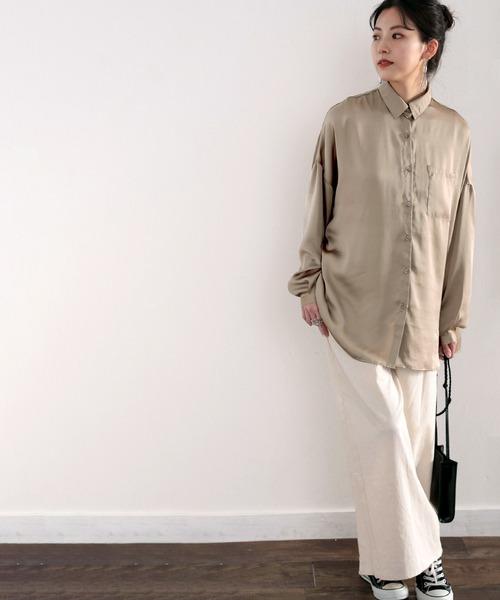 [Classical Elf] 艶々サテンが上品。ヴィンテージサテンオーバーサイズレギュラーカラーシャツ