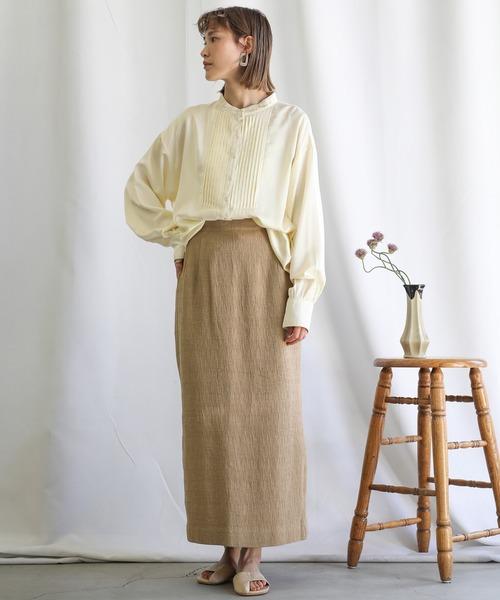 [select MOCA] 2021 S/S ノーカラ―フロントタックサテンシャツ/ボックスプリーツルーズシルエットカラーシャツ