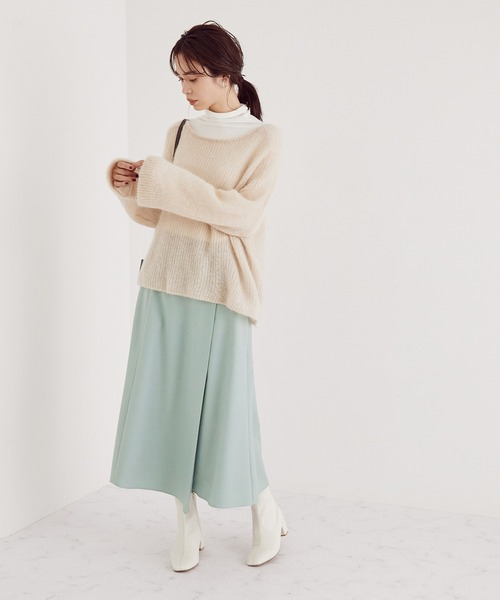 [ROPE'] 【手洗い可】ウールストレッチツイルマーメイドスカート