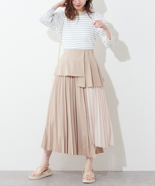 プリーツ異素材切替スカート