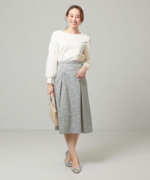 [green label relaxing] <closet story>□ブラシLINE フレア スカート -手洗い可能-