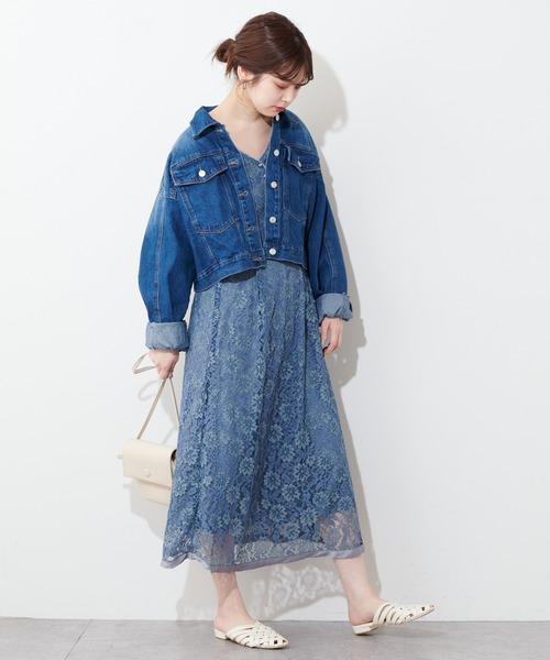 [natural couture] 裾パイピング大人レースワンピース