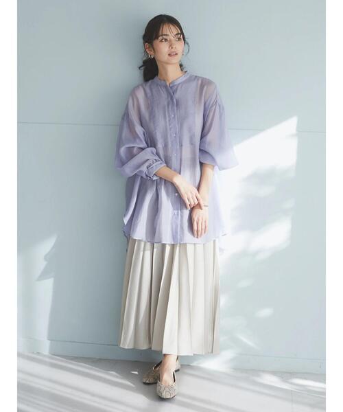 [CRAFT STANDARD BOUTIQUE] バックオープンシアーシャツ(バンドカラーシャツ) *◇