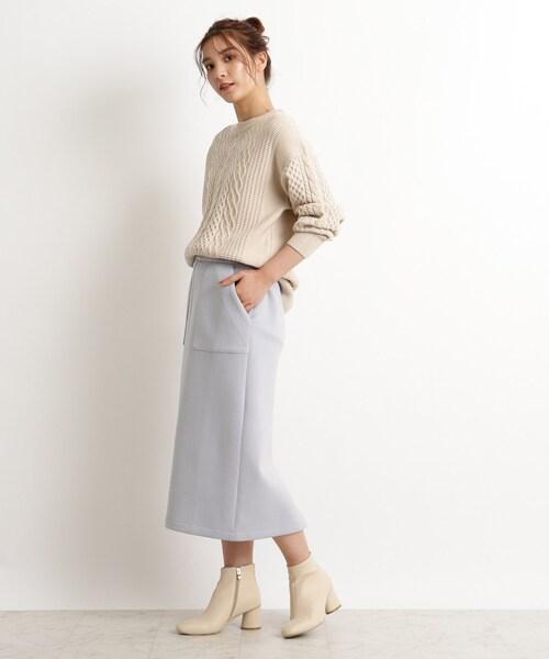 [grove] 【S-LL】マシュマロタッチスウェットバックスリットスカート