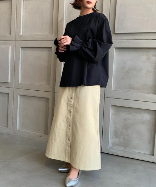 【2021S/S New Arrival】カラーヘビーツイル&デニムベイカーロングフレアスカート