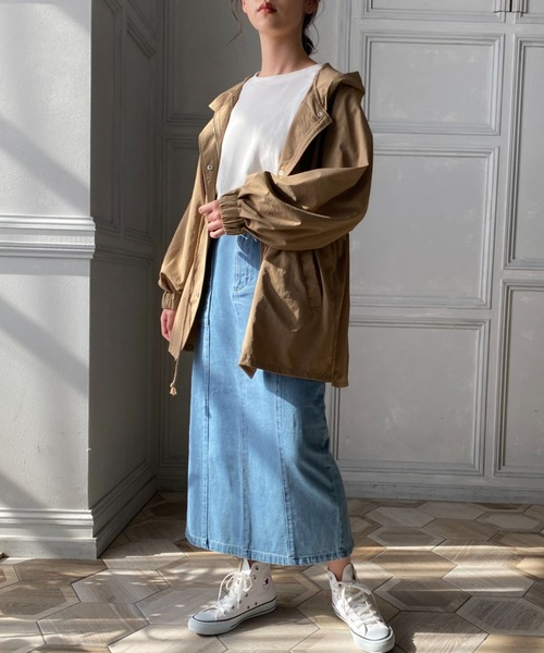 [moment+] 【2021S/S New Arrival】カラーヘビーツイル&デニムロングタイトスカート