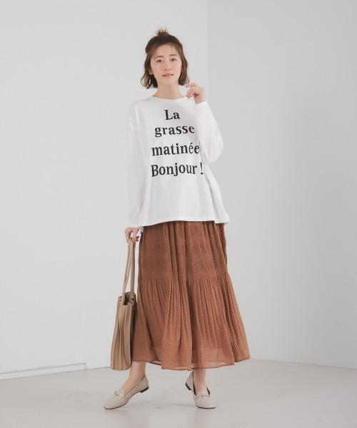 [Abahouse Devinette] ecru ドットマジョリカプリーツスカート