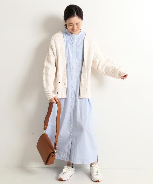 [IENA] 5G袖ケーブルカーディガン【手洗い可能】◆