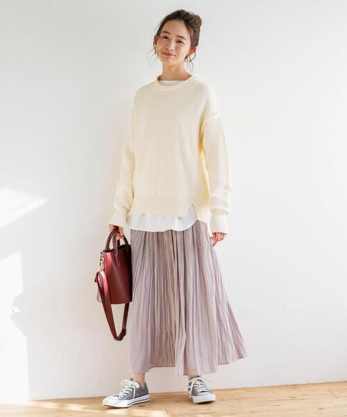 [coen] マットサテンプリーツスカート(マキシスカート/ロングスカート)