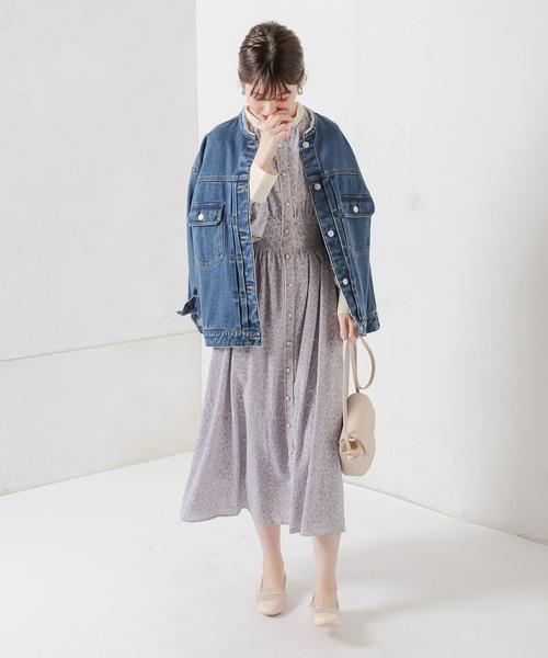 [natural couture] 配色花柄レディワンピース